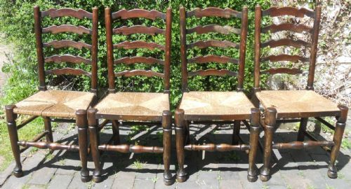 Set of Four Rush Seat Ladderback Dining Chairs